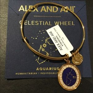 Alex and Ani Aquarius Celestial Wheel Gold Bangle